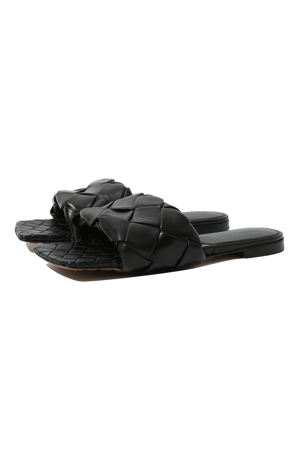 Женские кожаные шлепанцы BOTTEGA VENETA черного цвета, арт. 608853/VBSS0   Фото 1