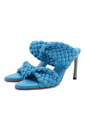 Женские кожаные мюли bv curve BOTTEGA VENETA синего цвета, арт. 618757/VBTG0 | Фото 1
