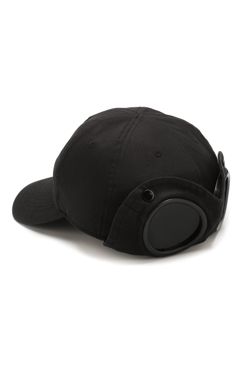 Мужской хлопковая бейсболка C.P. COMPANY черного цвета, арт. 08CMAC096A-005279A | Фото 2