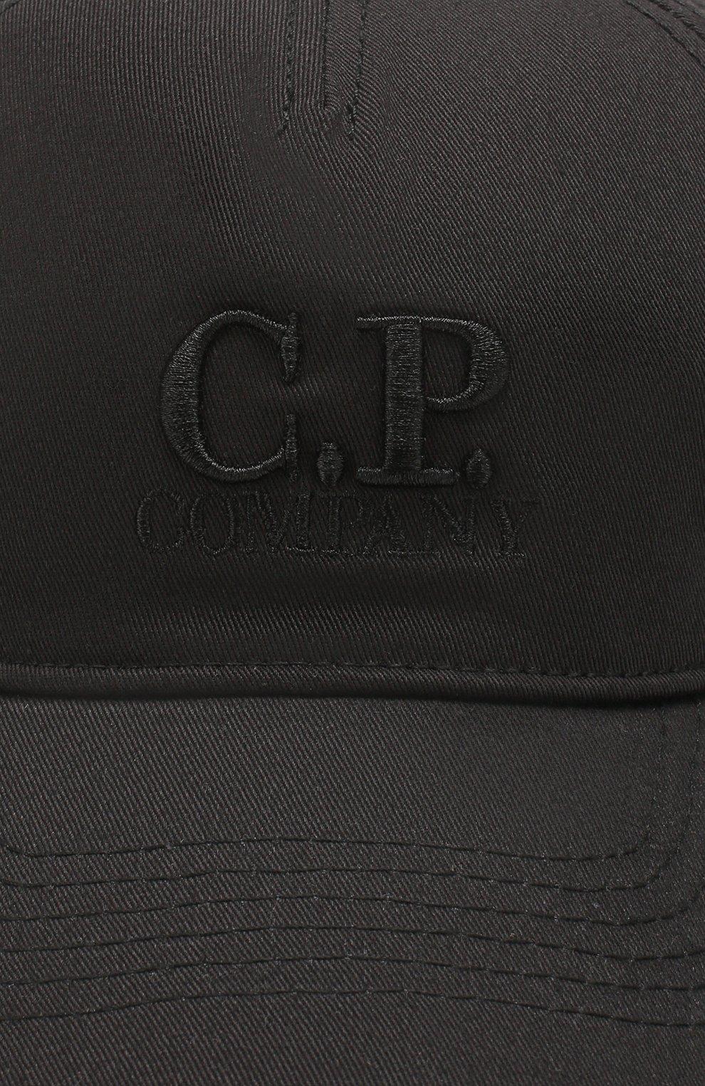 Мужской хлопковая бейсболка C.P. COMPANY черного цвета, арт. 08CMAC096A-005279A | Фото 3