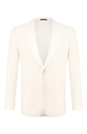 Мужской пиджак из смеси шелка и шерсти GIORGIO ARMANI кремвого цвета, арт. 0SGGG0EC/T01K6 | Фото 1