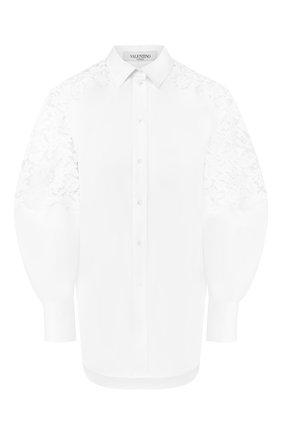 Женская хлопковая рубашка VALENTINO белого цвета, арт. TB0AB17K1M1 | Фото 1