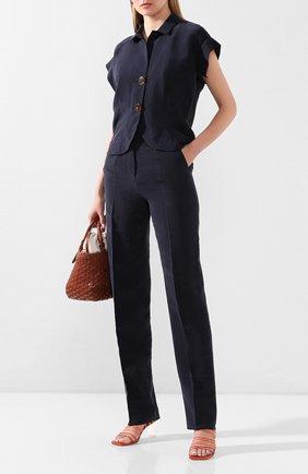 Женские шелковые брюки GIORGIO ARMANI темно-синего цвета, арт. 0SHPP0A8/T01HI | Фото 2