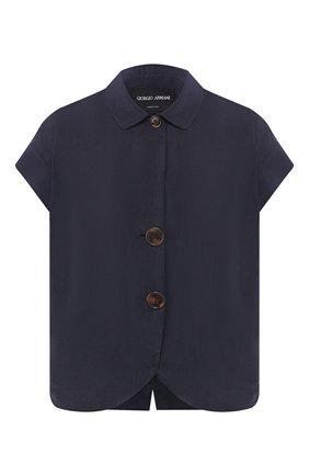 Женская шелковая рубашка GIORGIO ARMANI темно-синего цвета, арт. 0SHGG0D4/T01HI | Фото 1