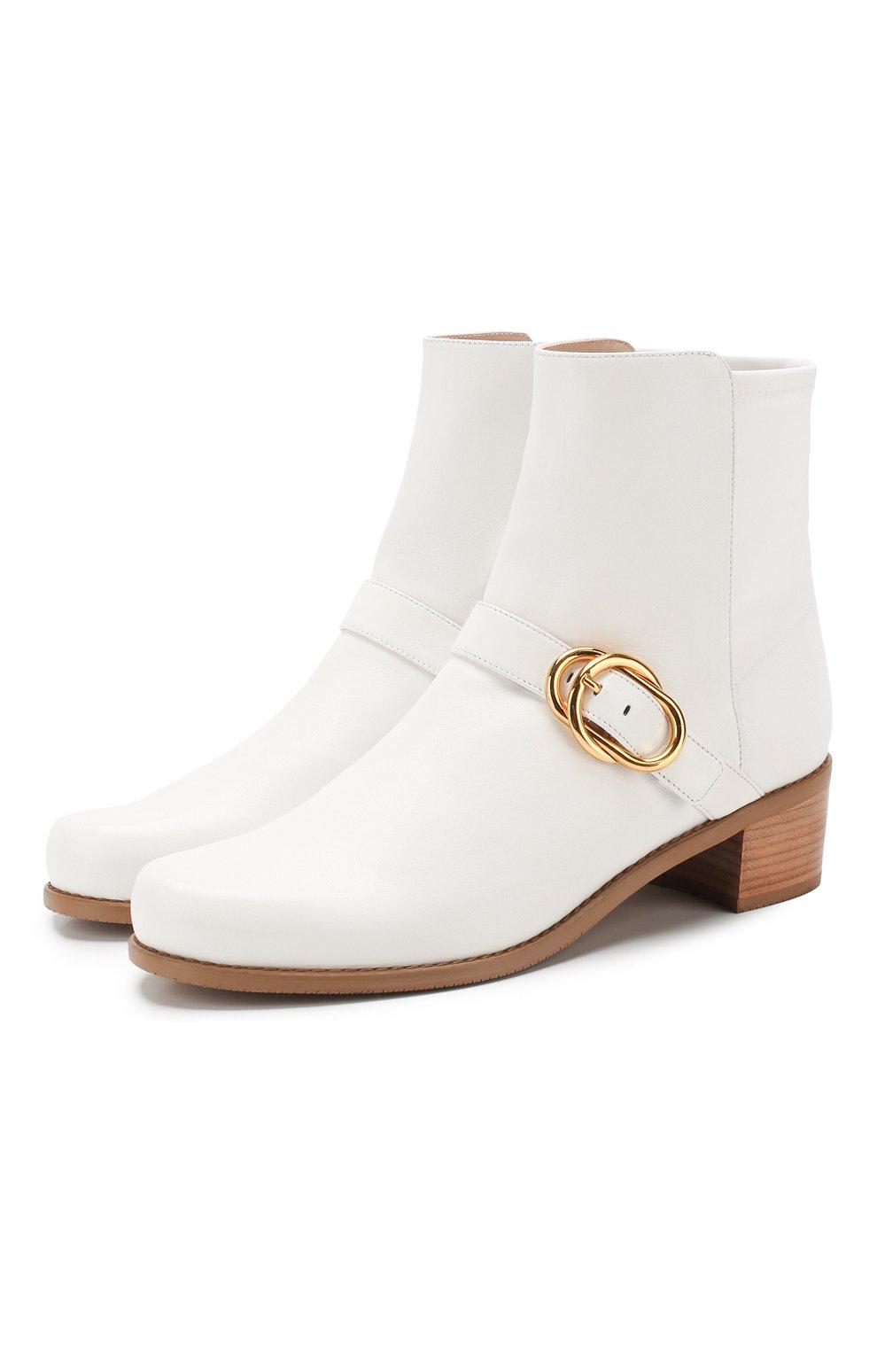 Женские кожаные ботинки STUART WEITZMAN белого цвета, арт. S6374 | Фото 1