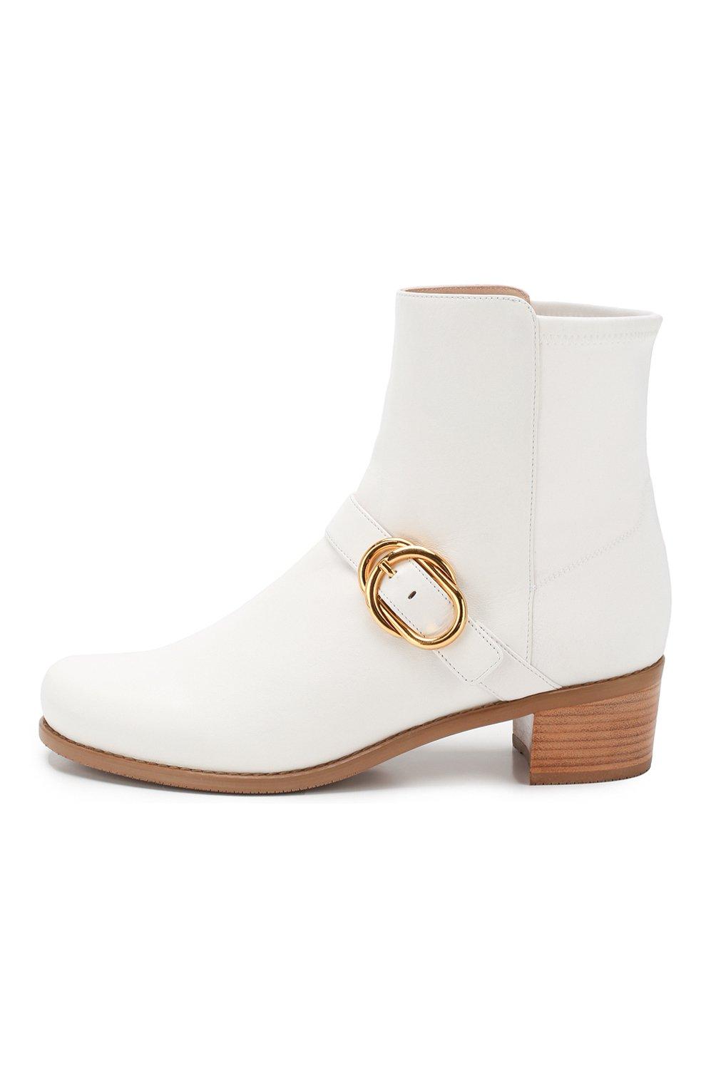 Женские кожаные ботинки STUART WEITZMAN белого цвета, арт. S6374 | Фото 3