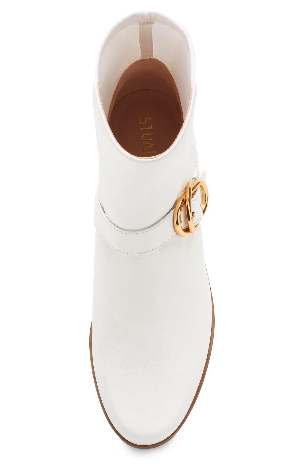 Женские кожаные ботинки STUART WEITZMAN белого цвета, арт. S6374 | Фото 5