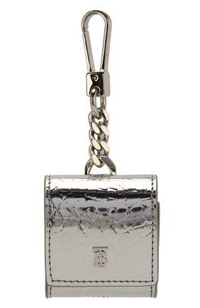 Мужской чехол для airpods BURBERRY серебряного цвета, арт. 8023500 | Фото 1