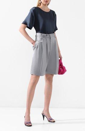 Женские шорты из смеси вискозы и хлопка BRUNELLO CUCINELLI голубого цвета, арт. M0H86P7265 | Фото 2