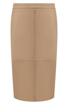 Женская кожаная юбка BOSS бежевого цвета, арт. 50430956 | Фото 1