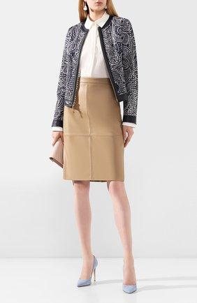 Женская кожаная юбка BOSS бежевого цвета, арт. 50430956 | Фото 2