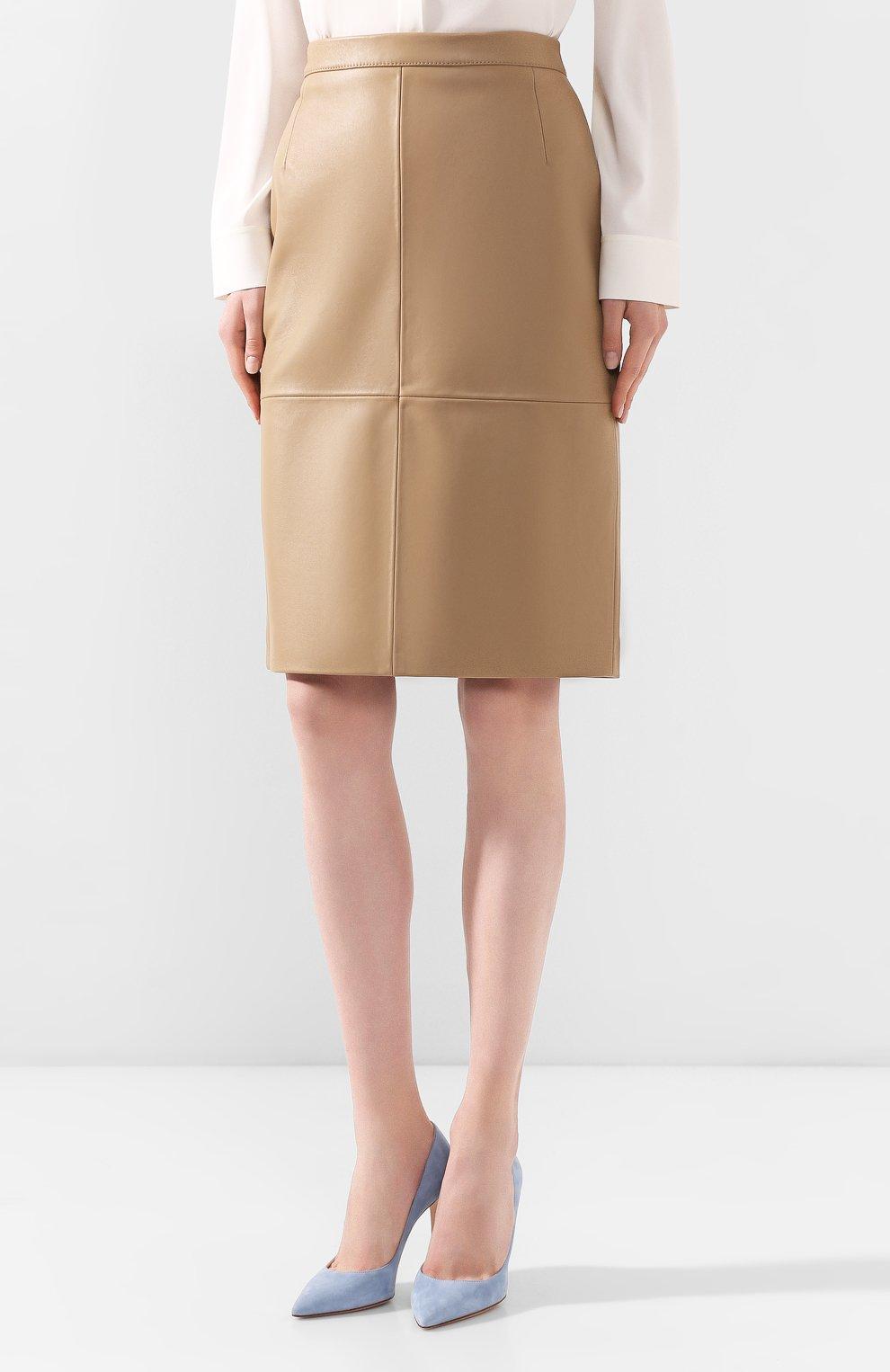 Женская кожаная юбка BOSS бежевого цвета, арт. 50430956 | Фото 3