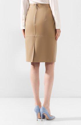 Женская кожаная юбка BOSS бежевого цвета, арт. 50430956 | Фото 4