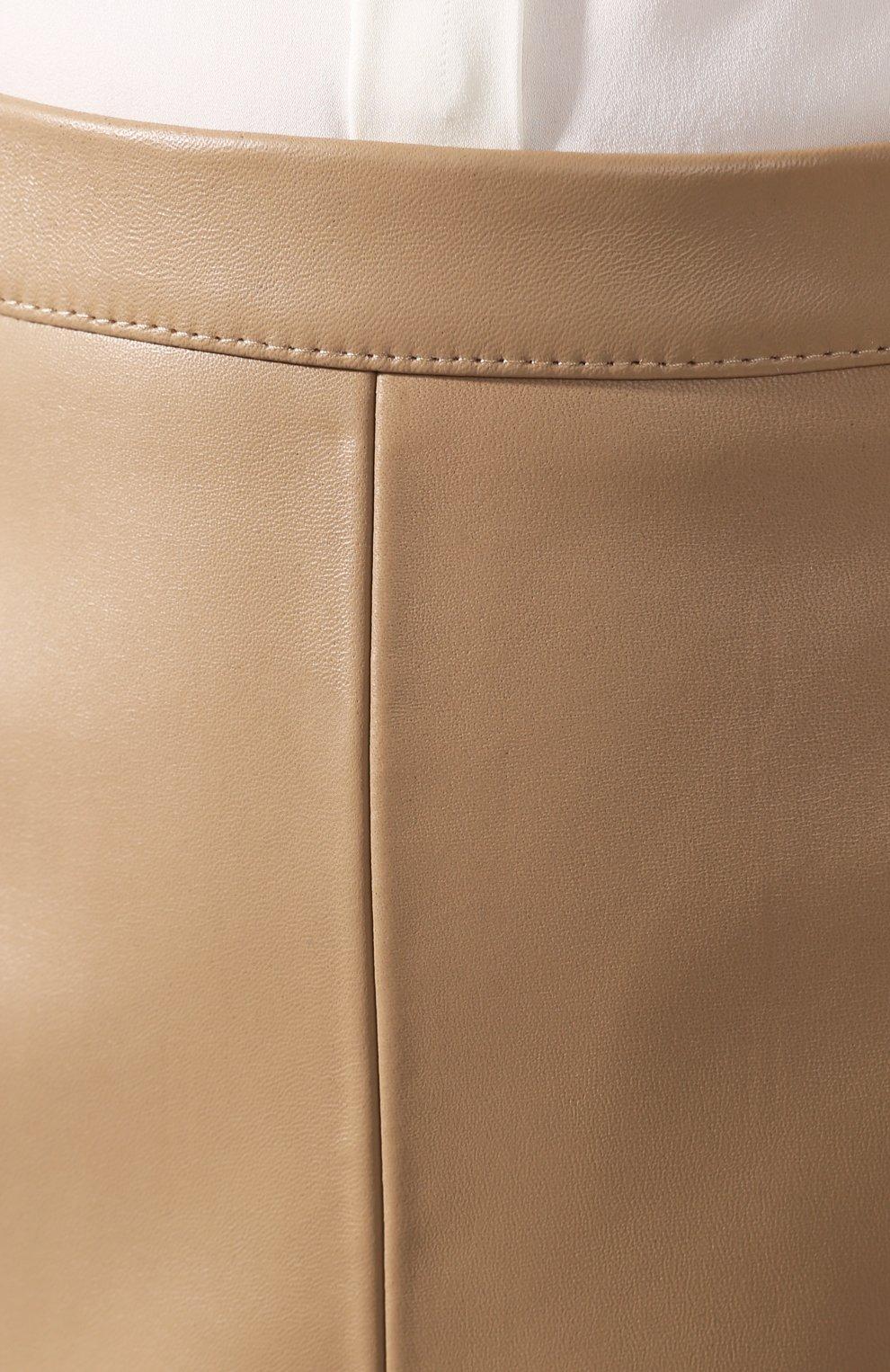 Женская кожаная юбка BOSS бежевого цвета, арт. 50430956 | Фото 5