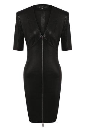 Женское кожаное платье JITROIS черного цвета, арт. R0BE VEGA FEM APS MC | Фото 1
