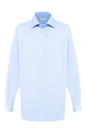 Мужская хлопковая сорочка BRIONI голубого цвета, арт. RCL42G/PZ023   Фото 1 (Материал внешний: Хлопок; Рукава: Длинные; Длина (для топов): Стандартные; Принт: Однотонные; Случай: Формальный; Манжеты: На пуговицах; Воротник: Кент)