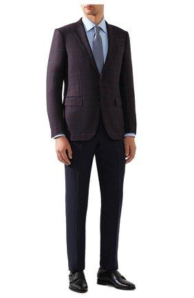 Мужская хлопковая сорочка BRIONI голубого цвета, арт. RCL42G/PZ023   Фото 2 (Материал внешний: Хлопок; Рукава: Длинные; Длина (для топов): Стандартные; Принт: Однотонные; Случай: Формальный; Манжеты: На пуговицах; Воротник: Кент)