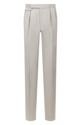 Мужские шерстяные брюки RALPH LAUREN серого цвета, арт. 798797783 | Фото 1 (Длина (брюки, джинсы): Стандартные; Материал подклада: Вискоза; Материал внешний: Шерсть; Случай: Формальный, Повседневный; Стили: Классический)