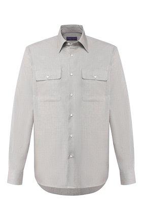 Мужская рубашка из смеси шерсти и шелка RALPH LAUREN серого цвета, арт. 791798504 | Фото 1