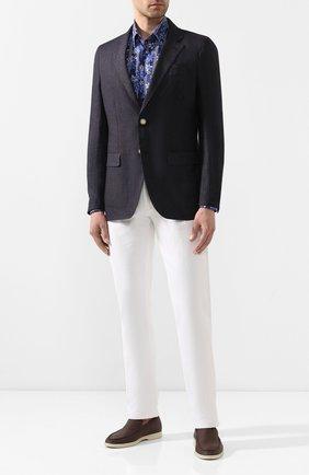 Мужская хлопковая рубашка ZILLI темно-синего цвета, арт. MFT-MERCU-84002/RZ01 | Фото 2