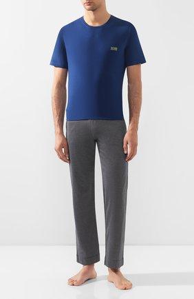 Мужские хлопковая футболка BOSS темно-синего цвета, арт. 50381904 | Фото 2