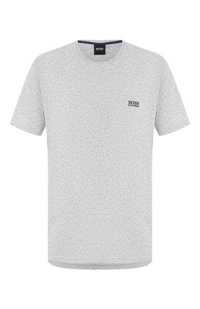 Мужские хлопковая футболка BOSS серого цвета, арт. 50381904 | Фото 1