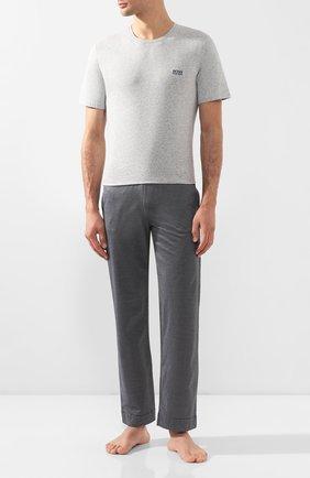 Мужские хлопковая футболка BOSS серого цвета, арт. 50381904 | Фото 2
