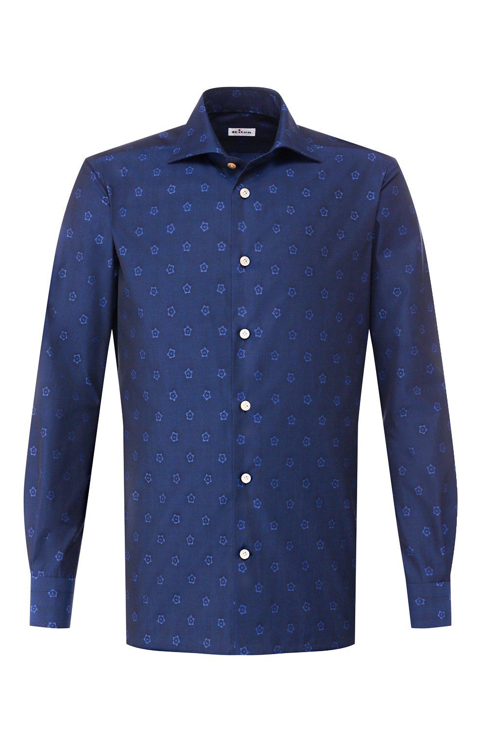 Мужская хлопковая рубашка KITON темно-синего цвета, арт. UMCNERH0727801 | Фото 1 (Рукава: Длинные; Случай: Повседневный; Длина (для топов): Стандартные; Материал внешний: Хлопок)
