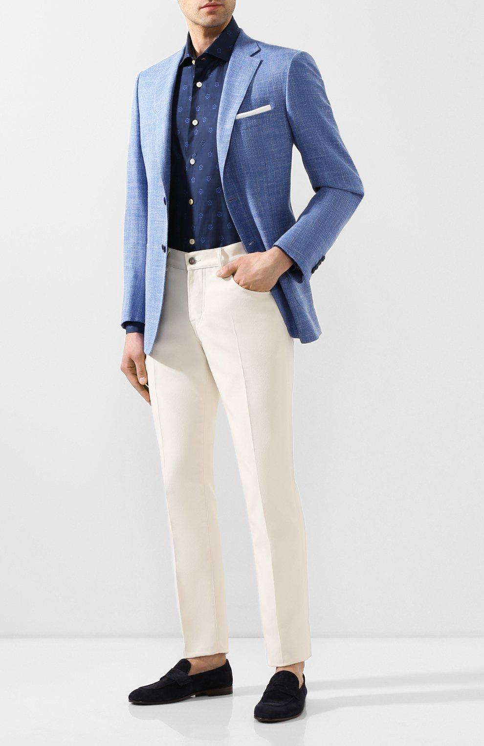 Мужская хлопковая рубашка KITON темно-синего цвета, арт. UMCNERH0727801 | Фото 2 (Рукава: Длинные; Случай: Повседневный; Длина (для топов): Стандартные; Материал внешний: Хлопок)