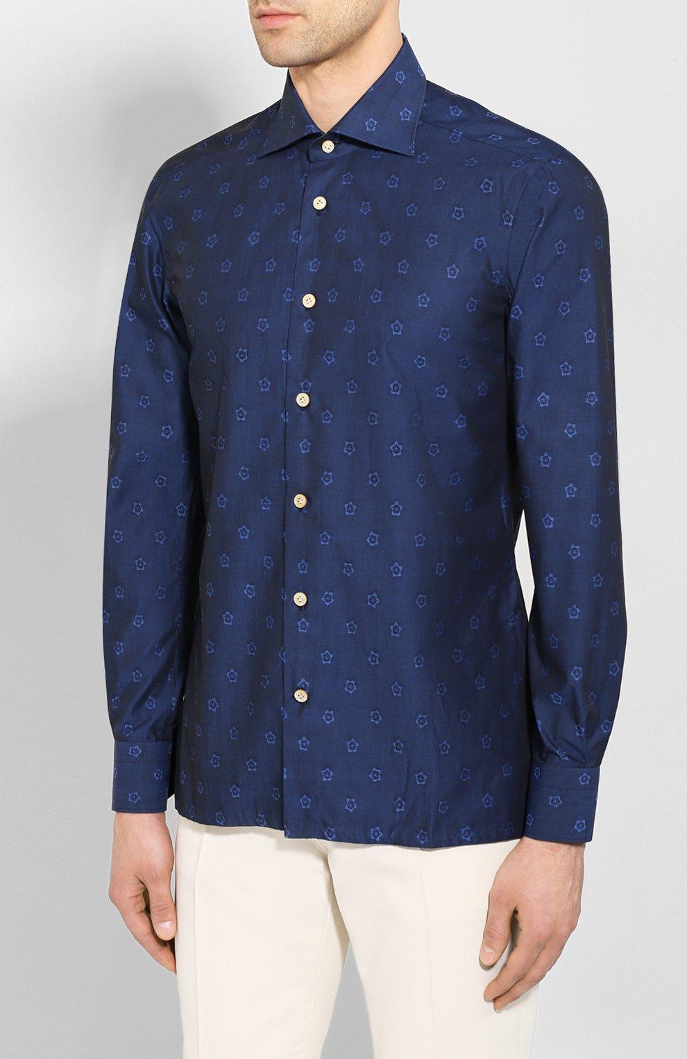 Мужская хлопковая рубашка KITON темно-синего цвета, арт. UMCNERH0727801 | Фото 3 (Рукава: Длинные; Случай: Повседневный; Длина (для топов): Стандартные; Материал внешний: Хлопок)