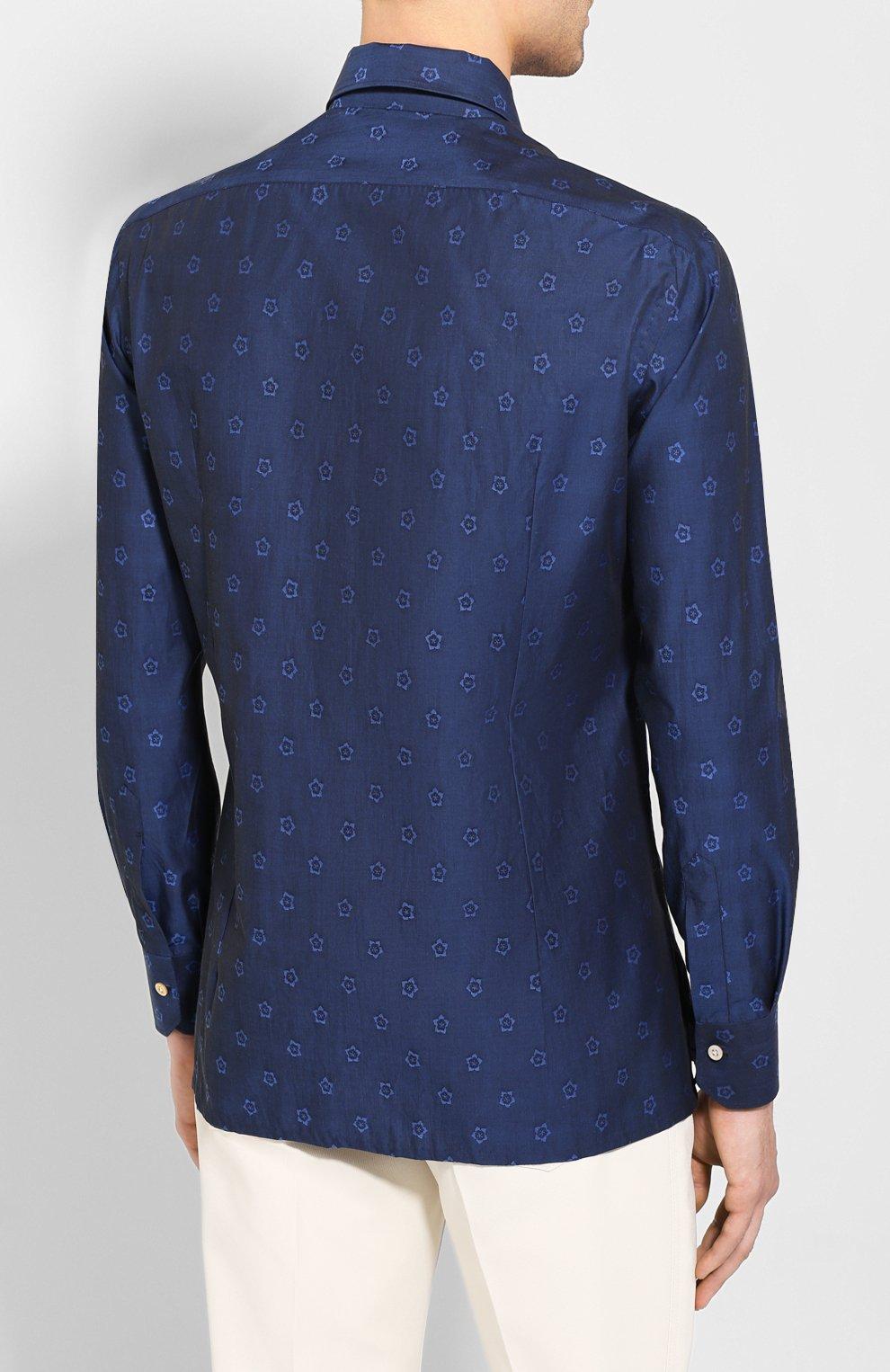 Мужская хлопковая рубашка KITON темно-синего цвета, арт. UMCNERH0727801 | Фото 4 (Рукава: Длинные; Случай: Повседневный; Длина (для топов): Стандартные; Материал внешний: Хлопок)