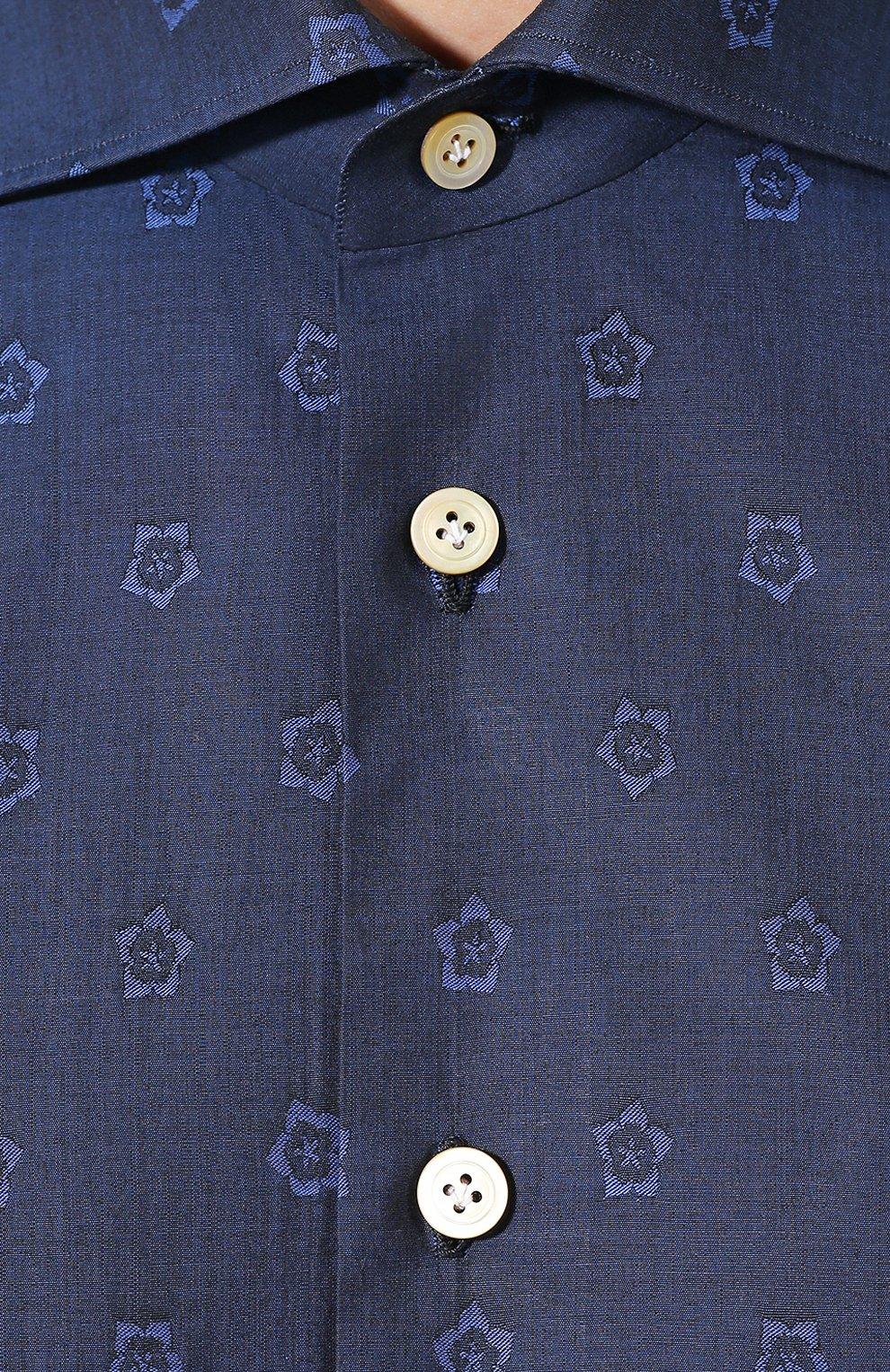 Мужская хлопковая рубашка KITON темно-синего цвета, арт. UMCNERH0727801 | Фото 5 (Рукава: Длинные; Случай: Повседневный; Длина (для топов): Стандартные; Материал внешний: Хлопок)