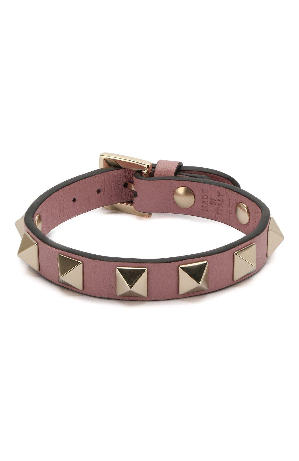 Женский кожаный браслет valentino garavani rockstud VALENTINO розового цвета, арт. QW0J0255VIT   Фото 1