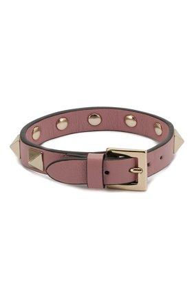 Женский кожаный браслет valentino garavani rockstud VALENTINO розового цвета, арт. QW0J0255VIT   Фото 2