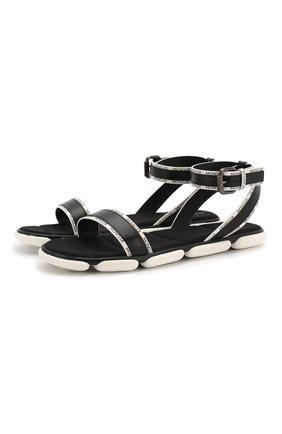 Женские кожаные сандалии MONCLER черного цвета, арт. F1-09B-4L703-40-02S8J   Фото 1