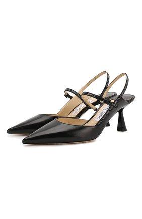 Женская кожаные туфли ray 65 JIMMY CHOO черного цвета, арт. RAY 65/JWR | Фото 1