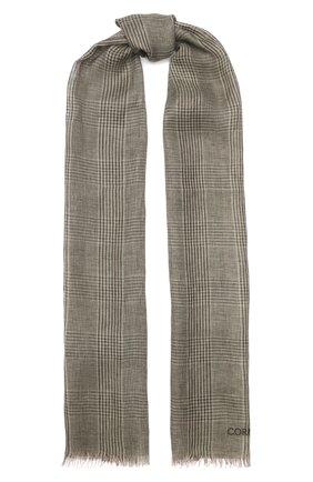 Мужской льняной шарф CORNELIANI хаки цвета, арт. 85B219-0129017/00 | Фото 1