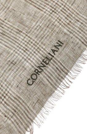 Мужской льняной шарф CORNELIANI хаки цвета, арт. 85B219-0129017/00 | Фото 2