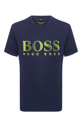 Мужские хлопковая футболка BOSS синего цвета, арт. 50407774 | Фото 1