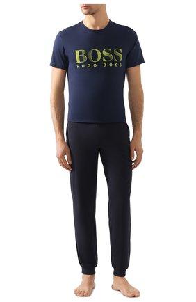 Мужские хлопковая футболка BOSS синего цвета, арт. 50407774 | Фото 2