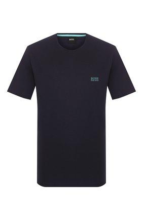 Мужские хлопковая футболка BOSS синего цвета, арт. 50381904 | Фото 1