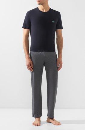 Мужские хлопковая футболка BOSS синего цвета, арт. 50381904 | Фото 2