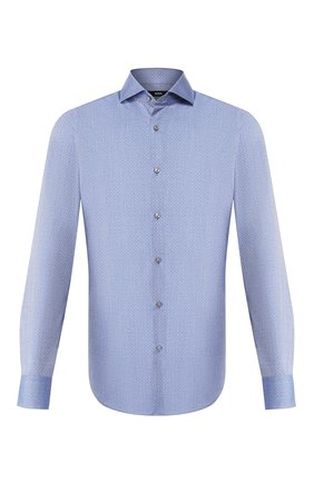 Мужская хлопковая сорочка BOSS синего цвета, арт. 50433270 | Фото 1