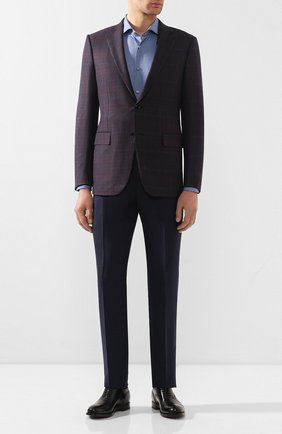 Мужская хлопковая сорочка BOSS синего цвета, арт. 50433270 | Фото 2