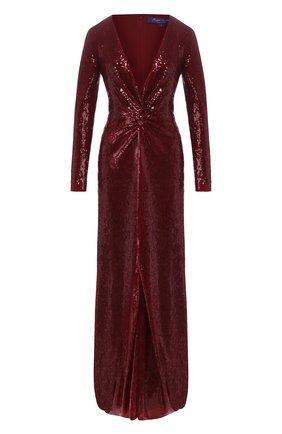 Женское платье с пайетками RALPH LAUREN бордового цвета, арт. 290809605 | Фото 1