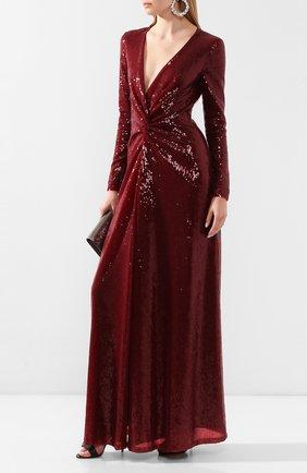 Женское платье с пайетками RALPH LAUREN бордового цвета, арт. 290809605 | Фото 2