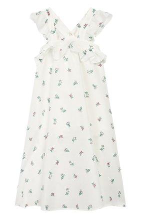 Детское платье из льна и хлопка PHILOSOPHY DI LORENZO SERAFINI KIDS белого цвета, арт. PJAB81/LC76/VH011/S-M | Фото 2