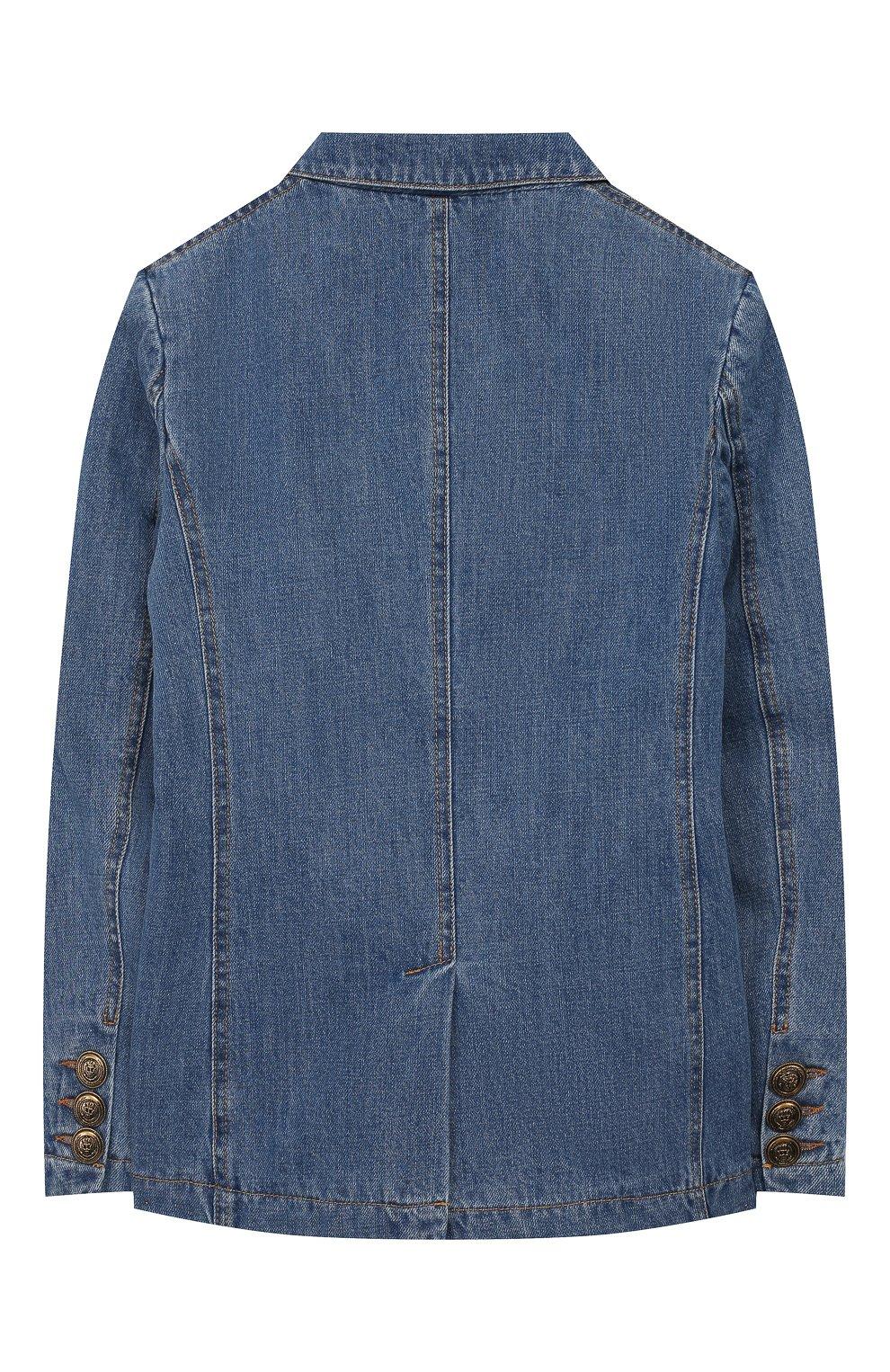 Детский джинсовый жакет PHILOSOPHY DI LORENZO SERAFINI KIDS синего цвета, арт. PJGC07/DF003/VHUNI/S-M | Фото 2