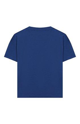 Детская хлопковая футболка PHILOSOPHY DI LORENZO SERAFINI KIDS синего цвета, арт. PJTS28/JE138/VH003/S-M | Фото 2