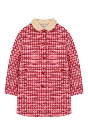 Детское шерстяное пальто GUCCI розового цвета, арт. 595400/XWAH9 | Фото 1